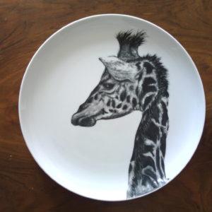 Assiette fait main porcelaine Girafe